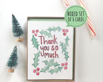 christmas thank you card, holiday card set, christmas box set, christmas pun cards, watercolor holiday card, seasonal note cards