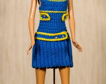 Handmade Barbie crochet Barbie clothes blue dress and hat for Barbie dolls and Fashion Royalty