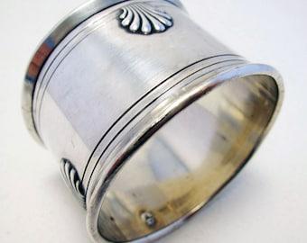 Antique French (c1900) Solid Sterling Silver Hallmarked Shell Serviette NAPKIN RING. Minerva .950