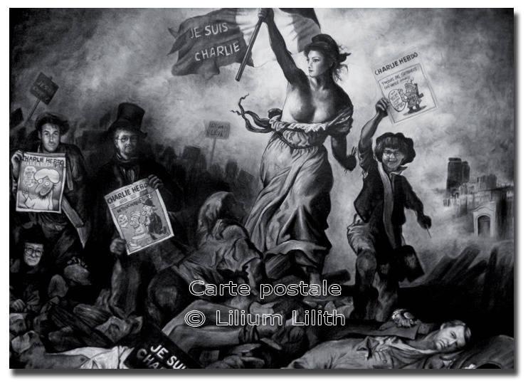 Carte Postale La Liberté guidant le Peuple Charlie Hebdo