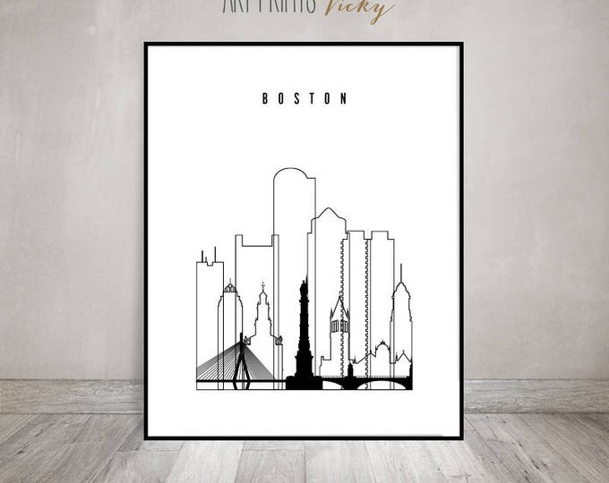 Boston art print, poster, Boston skyline, minimalist black & white wall art, travel decor, city print, Gift, Home Decor ArtPrintsVicky