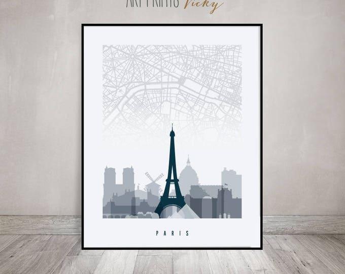 Paris map, Paris skyline art, Paris poster, Paris art print, grey blue by ArtPrintsVicky