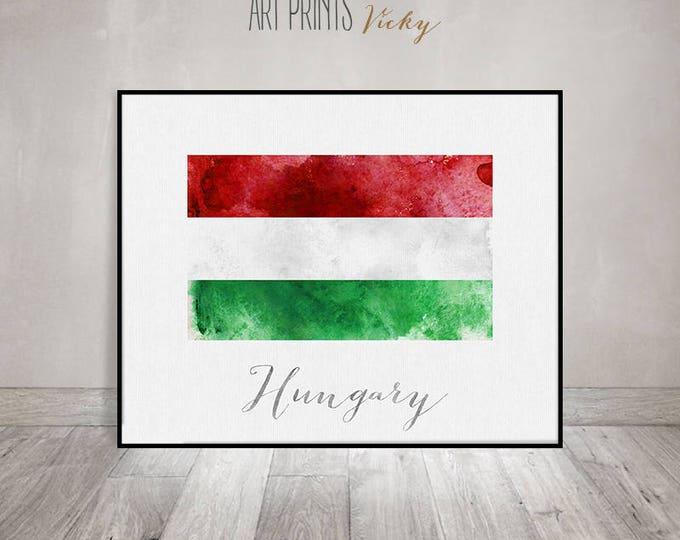 Hungary flag print, art poster, watercolor, Wall art, Hungary art, watercolor flag, typography, office decor, Home Decor, ArtPrintsVicky