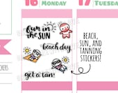 Munchkins -  Fun in the Sun! Beach, Tanning, and Sunburn Planner Stickers (M304)