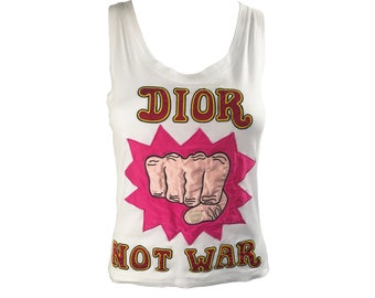 CHRISTIAN DIOR Vintage Dior Not War Logo Tank Top Pink Red Print T-Shirt Top sz FR 36 Tee Monogram