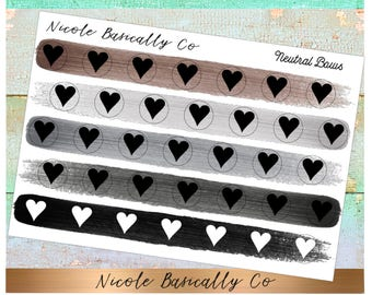 Heart Icons in Neutral Paint Stroke Colors- Planner Stickers