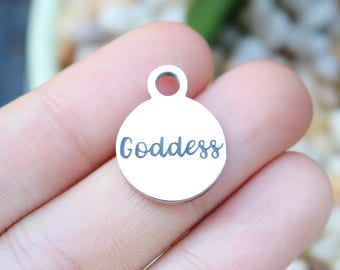 set of 4, goddess charms, word charms, stainless steel, disc charms, 15mm x 15mm x 1mm, affirmation charms, boho charms,