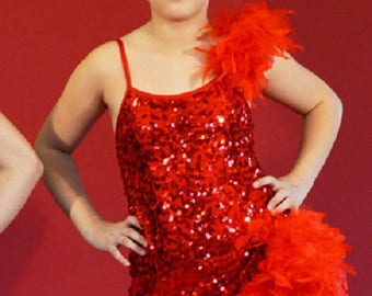Red sequins and charleston dance costume
