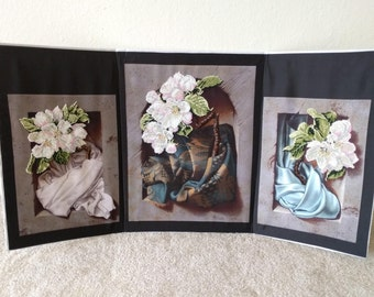 Beads Embroidery Floral Wall Art Tryptich