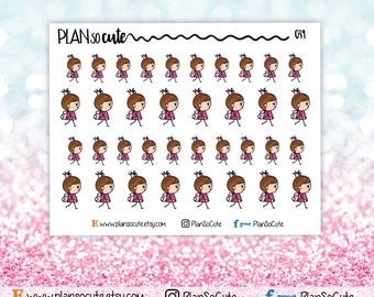 Girl goes back to school Stickers, Planner Stickers -039