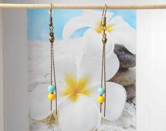 bronze Pearl Earrings turquoise yellow