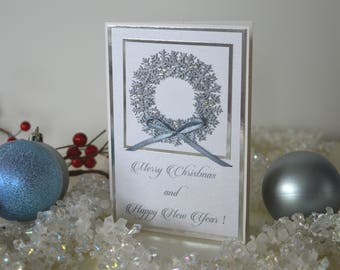 Cute Xmas card, New Year card, Card with wreath, Christmas wreath, Handmade Christmas card, Winter card, Christmas Day card, Holiday cards