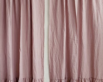Linen curtain with ruffles. 12 colours. Linen window panel. Ruffled curtains. Custom width and length.
