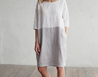 Loose fitted linen dress. Colour block dress. White and gray linen tunic. Washed linen clothing for women.