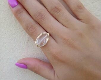 Clear Quartz Ring, Gold Plated Quartz Ring, Quartz Ring, Gemstone Ring, Gold Plated Ring, Tarnish Resistant Ring