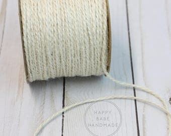 Cream Jute Twine, Ivory Twine, 1.5mm, 2 ply, 25 Yards, Shabby Chic, Rustic Wedding, Natural Packaging, Ivory Jute, Jute Twine, Neutral Twine