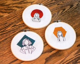 Trio of Women (Red - Dakota, Gold - Jane, Teal - Portia) - 5 inch Embroidery Hoops
