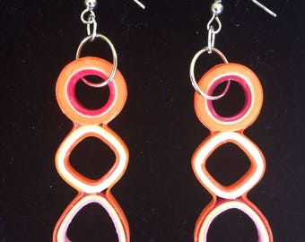 Paper quilling, lightweight jewelry, eco friendly, summer, dangle earrings, recycled paper earrings