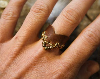 Leather Ring - Brass details - Leather Jewelry - Gift for her - Womens Ring - Natural Ring - Handmade Jewelry - Festival Ring