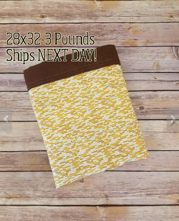 Yellow Subway Tile, 3 Pound, WEIGHTED BLANKET, 3 pounds, 28x32 for Autism, Sensory, ADHD, Calming, Anxiety,