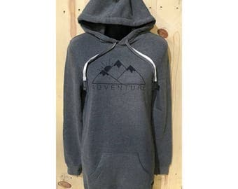 Adventure Hooded Sweatshirt Dress / Goal getter / Live Life / Travel Hooded dress / Camping Comfort / Hoodie Dress /