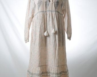 Vintage cotton panel maxi printed dress