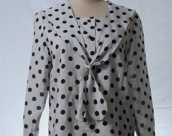 Vintage polka dot square neck button up blouse with tie