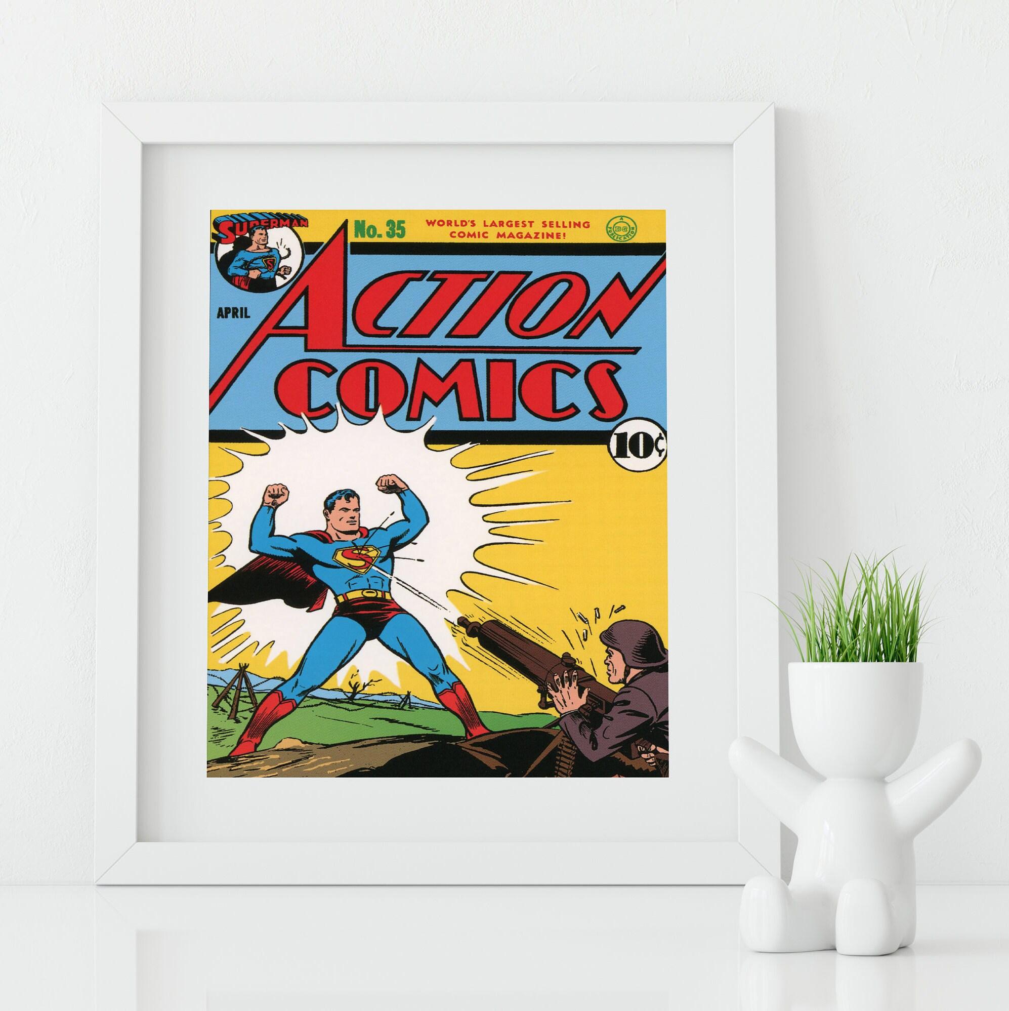 Superhero Wall Art / Superman Poster / Action Comics Art / Vintage Comic  Book / Nerd Gift / Geeky Wall Art / Superman Art / Geeky Baby Gift