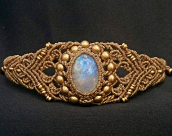 Rainbow Moonstone Macrame Bracelet Jewelry MC3