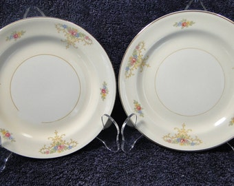 "TWO Homer Laughlin Eggshell Nautilus Rochelle Bread Plates 6"" Set of 2 EXCELLENT!"