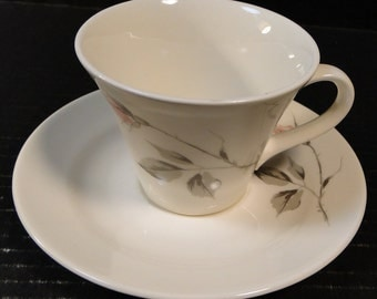 Knowles Dawn Rose Tea Cup Saucer Set Designed by Kalla EXCELLENT!