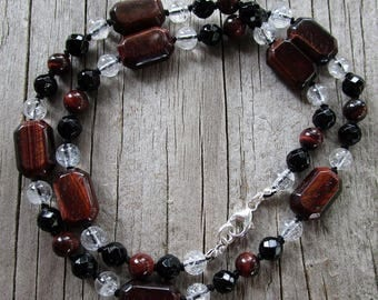 Red tigerseye clear quartz black onyx gemstone beaded necklace knotted // ready to ship