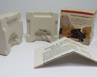 Vintage Jareen Edible Compliments, Rabbit mold, Ceramic butter mold, ceramic chocolate mold