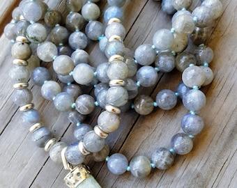 Intuition Mala Beads Labradorite Mala Beads 108 Amazonite Mala Beads 108 Knotted Mala Necklace Pendant Mala Beads Yoga Necklace Knotted Mala