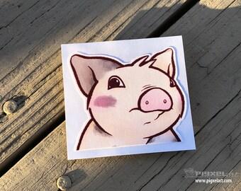 """Linen Fabric/Wallpaper Decal Cute Little Pig """"Dramatic Piglet"""" Piggy Die Cut Art Indoor Sukoshi Buta Mini Pig Pigxel Art"""