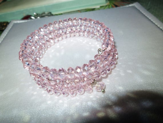 Lovely pink aurora borealis glass wrap bracelet