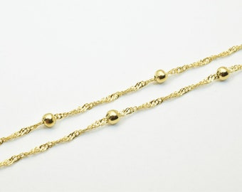 """18K Gold Filled Chain 17"""" Inch Long 2mm Chain Width Ball Size 4mm CG162"""