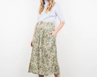 AMAZING Vintage Green Blue Watercolor Floral Wide Leg Culottes / S / hipster pants festival trousers flower boho bohemian beige pants