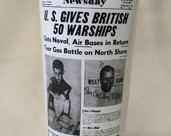 Drinking Glass ~ Tumbler ~ Newsprint ~ Newspaper ~ Newsday ~ US Gives British 50 Warships ~ Historical ~ Glassware ~ Seths Vintage Emporium