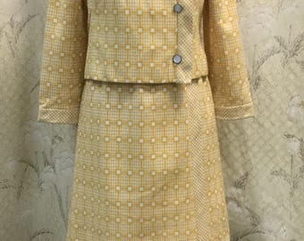 Vintage 1960s Malcolm Starr Yellow Suit, Malcolm Starr Dress and Jacket
