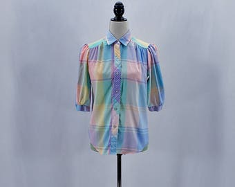 Vintage rainbow plaid puffy sleeves button down shirt // Size XS / S
