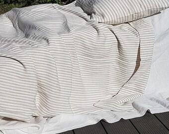 Striped duvet cover - heavier linen duvet cover - washed linen doona cover - striped linen duvet insert - Queen California King bedding