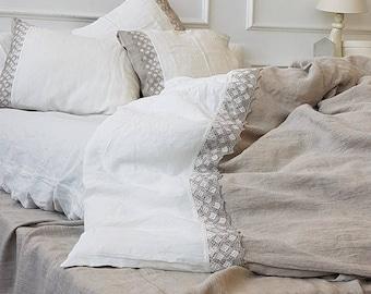Pure linen bedding set with linen lace, stonewashed natural linen duvet cover and pillowcases, lace trimed Queen, King linen duvet set