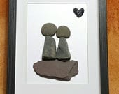 Rock art,  loving couple rock art,  rocks engagement gift,  personalized pebble art,  pebble framed art, anniversary pebble art,