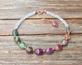 Watermelon tourmaline bracelet / Moonstone tourmaline bracelet / October birthstone / Gift for wife / Gift for her / Gemstone bracelet