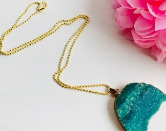 Druzy necklace, bead and druzy necklace, natural stone necklace, turquoise druzy necklace, druza long necklace, necklace with druza, beads