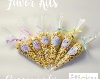 Personalized Ready to Pop Stickers, Ready to Pop Favours, Baby Shower Stickers, Cone Bags, Baby Shower Favors, Ready to Pop Favors, Popcorn