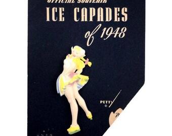 Vintage Ice Capades of 1948 Petty Girl Brooch/Pin
