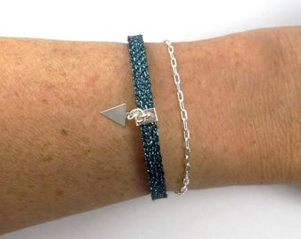 Double strand sterling silver and turquoise black leather triangle charm bracelet