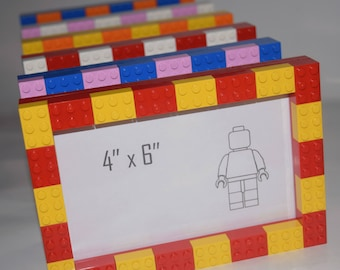Lego Photo Frame - Choose Your Own Colours - Whole frame made from Lego with Glass.
